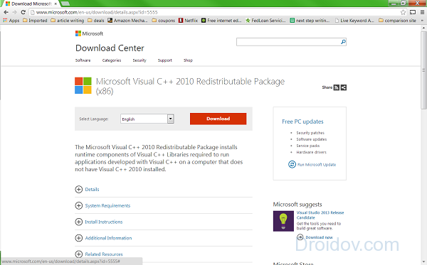 Переустанавливаем Visual C++ 2010