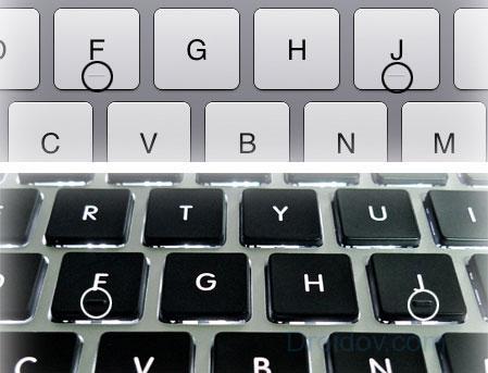 Выпуклости на клавишах разных клавиатур