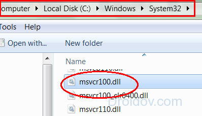 Размещение файла msvcr100.dll на ПК
