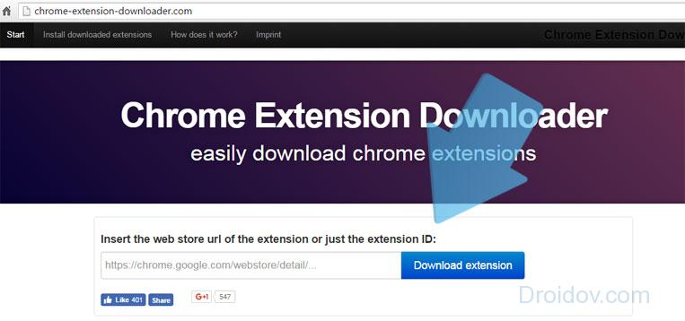 Скачиваем дополнение к Chrome в Download extension