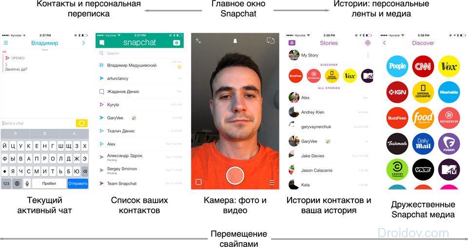 Интерфейс приложения Снапчат