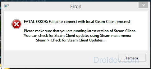 Ошибка в Стим «FATAL ERROR: Failed to connect with local Steam Client process!»