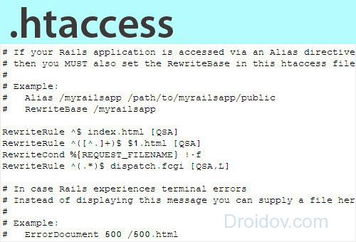 Повреждён файл .htaccess