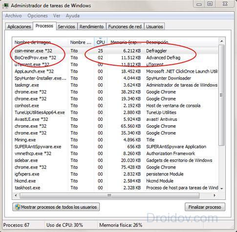 Процесс miner.exe в Диспетчере задач