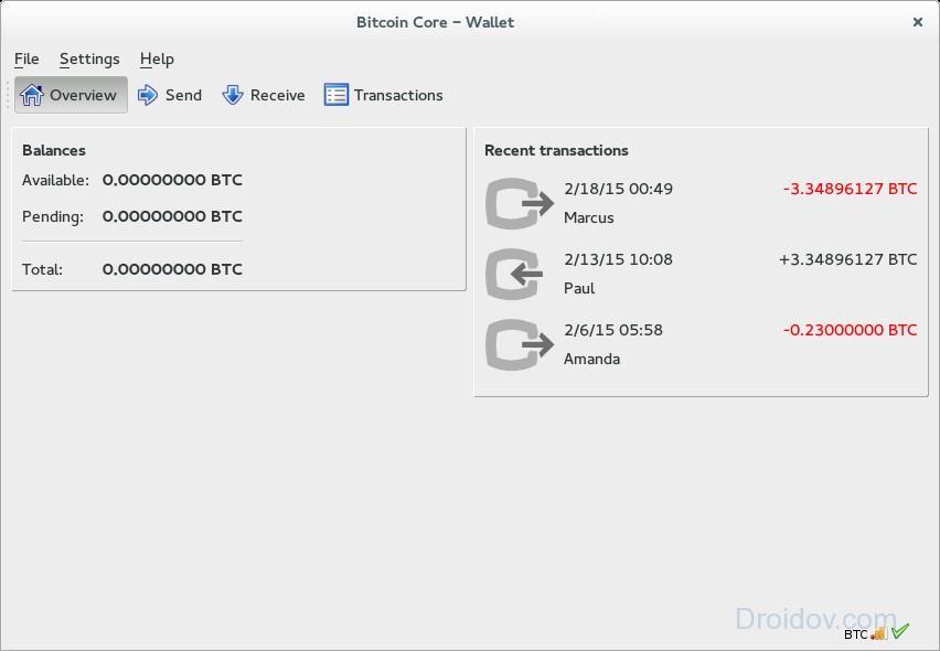Интерфейс программы Bitcoin Core