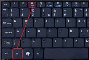 Активируем через кнопки клавиатуры
