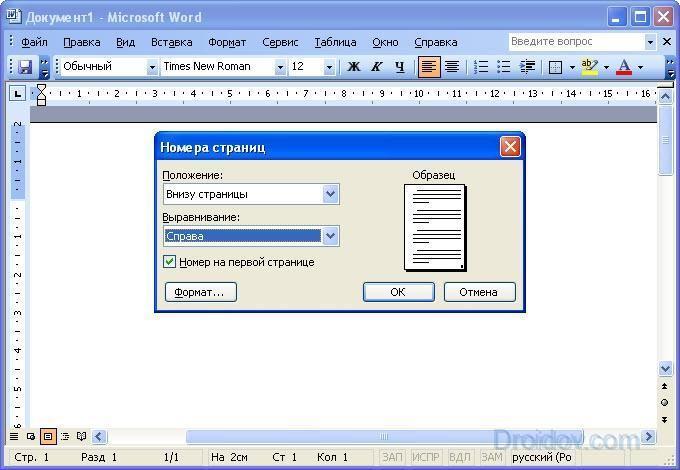 Номера страниц в Ворд 2003