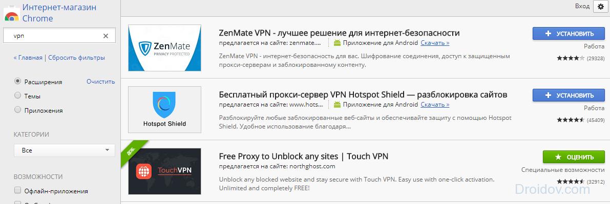 Список расширений VPN
