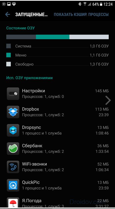 Список работающих приложений на Андроиде