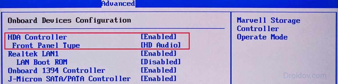 режим аудио панели в bios