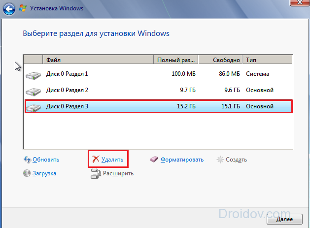 разделы Windows