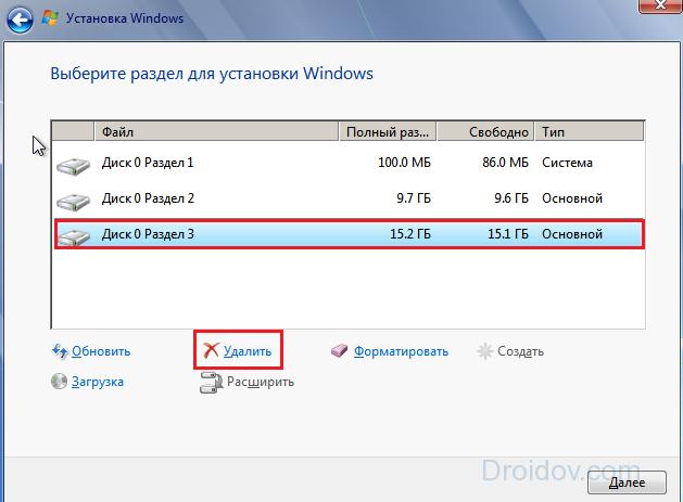 разделы Windows