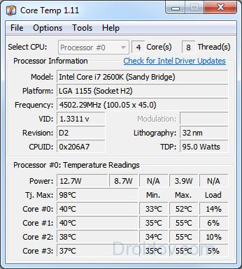 core temp - свойства