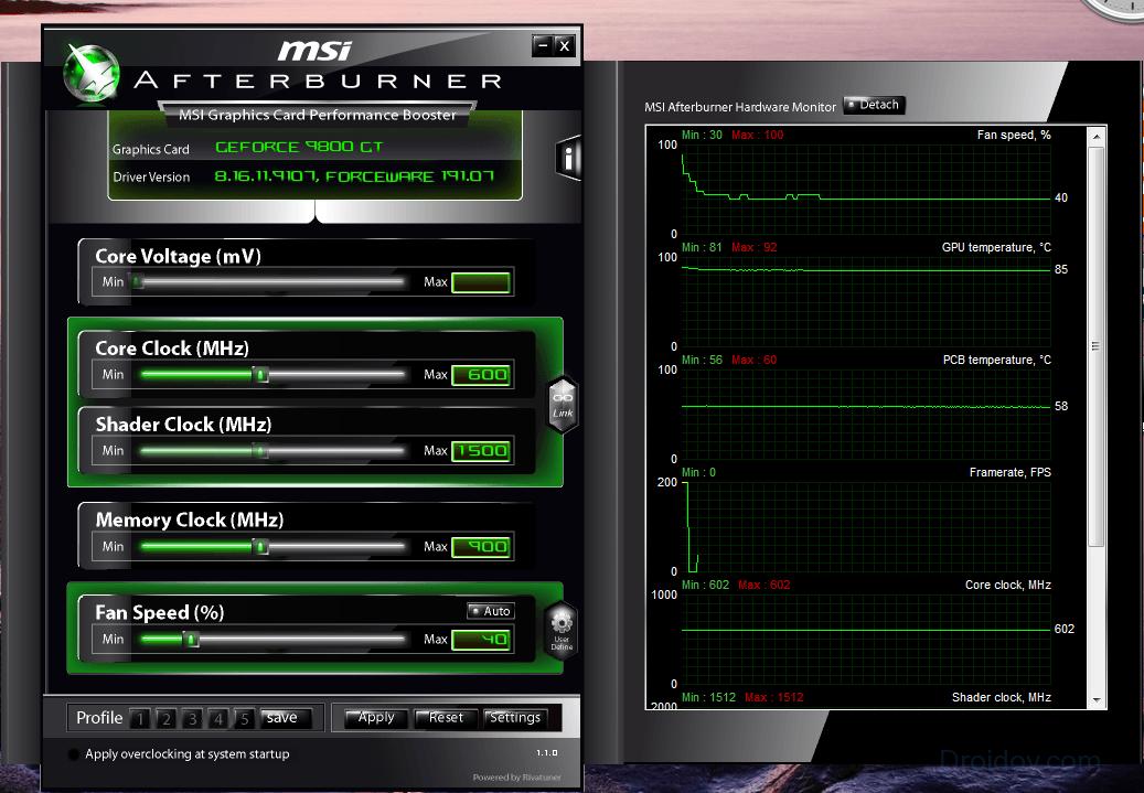 Интерфейс MSI Afterburner