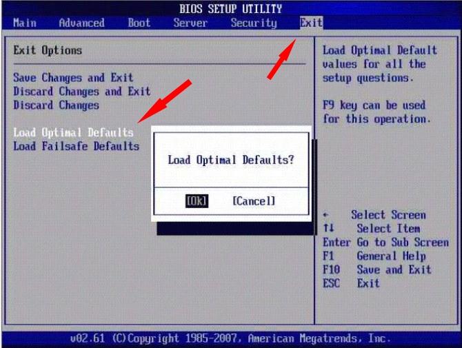 Сброс настроек BIOS с помощью опций BIOS Setup