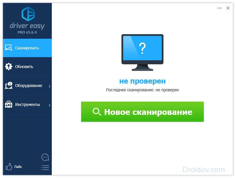 Сканирование с помощью программы Driver Easy