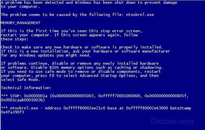 Синий экран ntoskrnl.exe