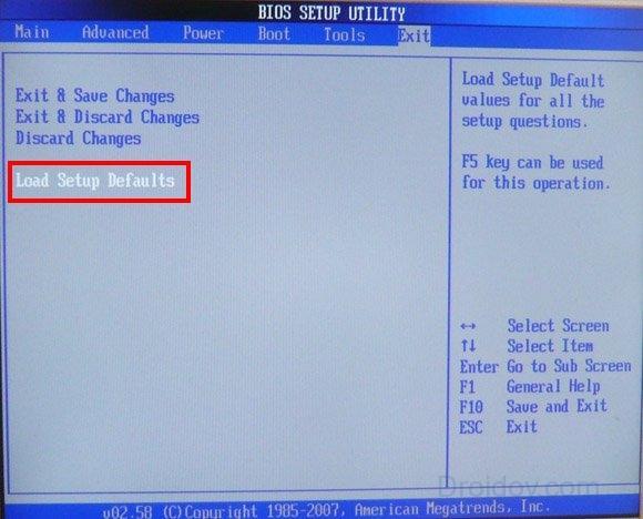 Настройки по умолчанию в BIOS
