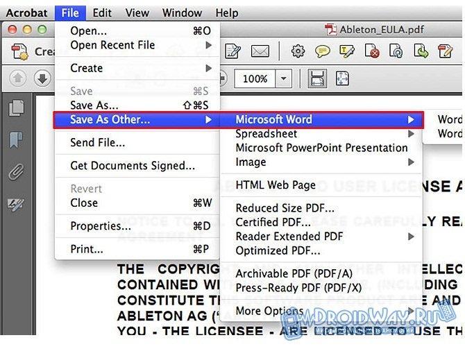 Как pdf перевести в word. Преобразование файлов